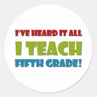 Fifth Grade Teacher Round Sticker