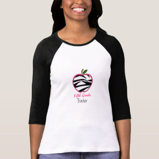 Fifth Grade Teacher Shirt - Zebra Print Apple