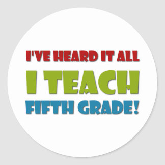 Fifth Grade Teacher Classic Round Sticker