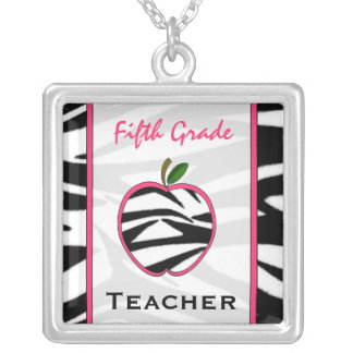 Fifth Grade Teacher Zebra Print Apple Necklace