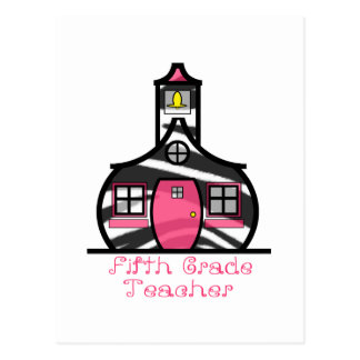 Fifth Grade Teacher Zebra Print Schoolhouse Postcard