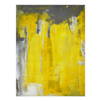 'Fifth' Grey and Yellow Abstract Art Poster