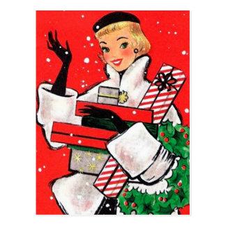 Fifties Christmas Shopper Postcard