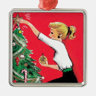 Fifties Christmas Tree Trimmer Silver-Colored Square Decoration