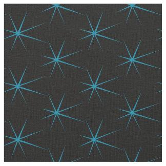 Fifties Retro Blue Stars on Black Fabric