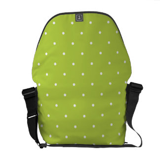 Fifties Style Tender Shoots Green Polka Dot Courier Bag