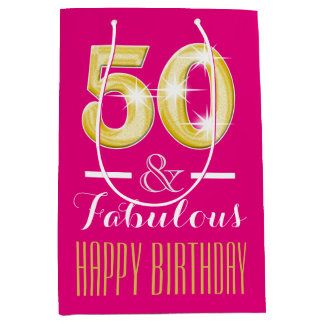 Fiftieth 50th birthday women medium gift bag
