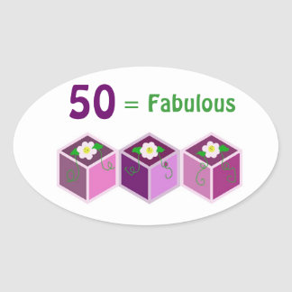 Fiftieth Birthday Oval Sticker