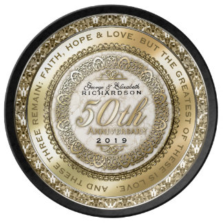 Fiftieth Wedding Anniversary Gold Quote Marble Porcelain Plates