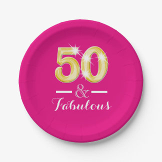 Fifty 50th birthday milestone party 7 inch paper plate