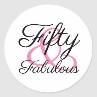 Fifty and Fabulous 50th Birthday Party Classic Round Sticker