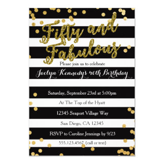Fifty and Fabulous Adult Birthday Party Invitation
