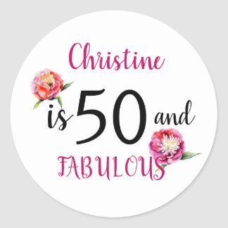 Fifty And Fabulous Birthday Party Classic Round Sticker