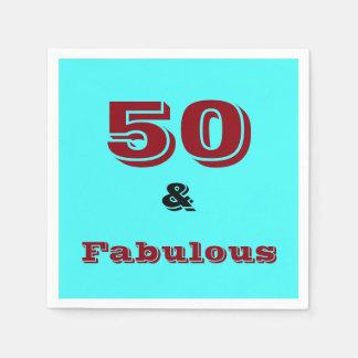 Fifty and Fabulous celebration napkin. Paper Serviettes
