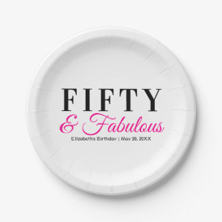 Fifty and Fabulous Fancy Hot Pink 50th Birthday Paper Plate
