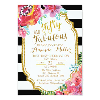Fifty and Fabulous watercolor Birthday Invitation