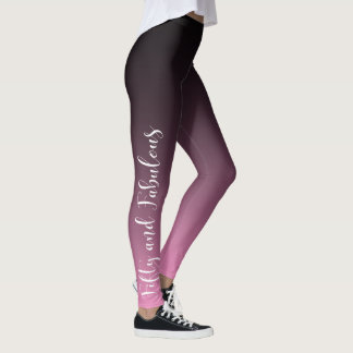 Fifty and Fabulous White on Pink & Black Birthday Leggings