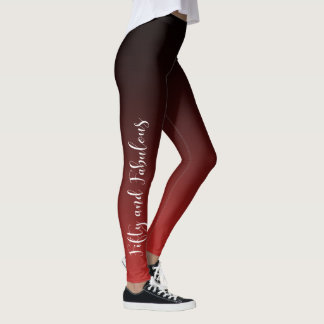 Fifty and Fabulous White on Red & Black Birthday Leggings