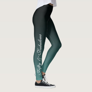 Fifty and Fabulous White on Teal & Black Birthday Leggings