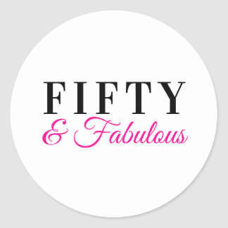 Fifty & Fabulous Charming Hot Pink 50th Birthday Classic Round Sticker