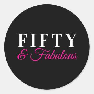 Fifty & Fabulous Chic Pink Magenta 50th Birthday Classic Round Sticker