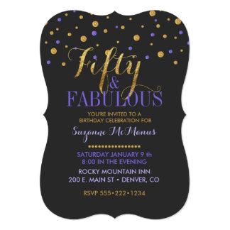 Fifty & Fabulous Gold & Purple Confetti Dots 13 Cm X 18 Cm Invitation Card