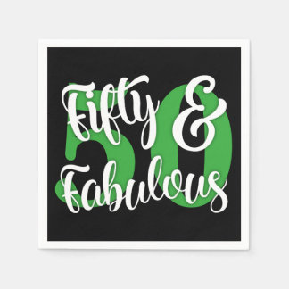 Fifty & Fabulous White and Kelly Green Typography Disposable Napkins