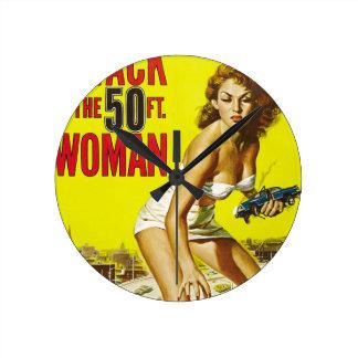 Fifty Foot Alien Women Wall Clock