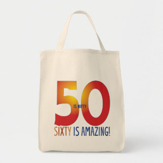 Fifty is nifty grocery tote bag