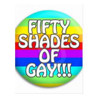 FIFTY SHADES OF GAY MULTI SHADE POSTCARD