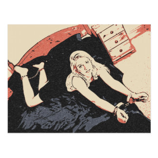 Fifty shades of kink art sexy blonde in bedroom postcard