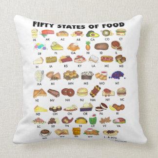 FIFTY STATES OF FOOD United States America USA Art Cushion