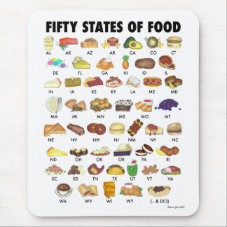 FIFTY STATES OF FOOD United States America USA Art Mouse Pad