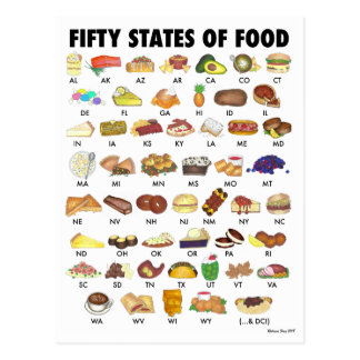 FIFTY STATES OF FOOD United States America USA Art Postcard