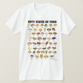 FIFTY STATES OF FOOD United States America USA Art T-Shirt
