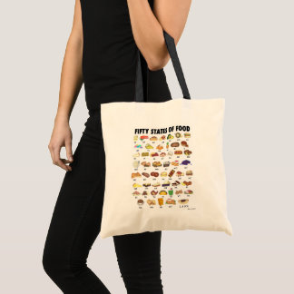 FIFTY STATES OF FOOD United States America USA Art Tote Bag
