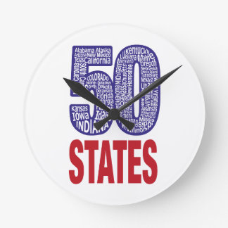 Fifty United States of America Round Clock