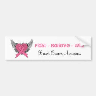 Fight Believe Win - Breast Cancer Bumper Sticker