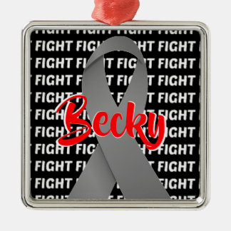 Fight Brain Cancer Gray Ribbon Metal Ornament