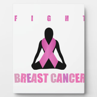 Fight breast cancer- pink ribbon on a womans body plaque
