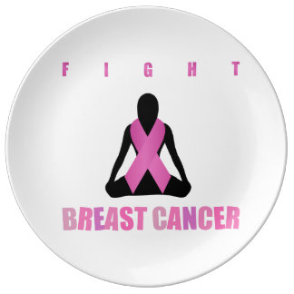 Fight breast cancer- pink ribbon on a womans body plate