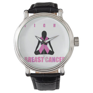 Fight breast cancer- pink ribbon on a womans body watch