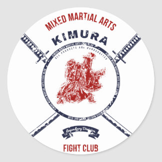 Fight Club Grunge print with samurai swords Classic Round Sticker