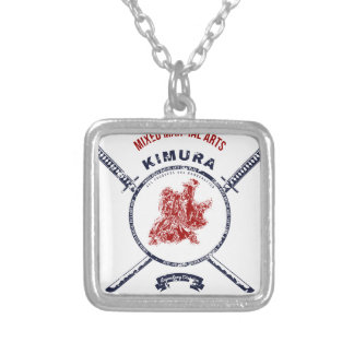Fight Club Grunge print with samurai swords Silver Plated Necklace