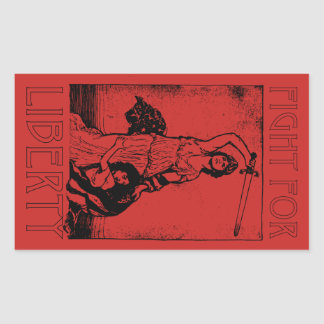 FIght for Liberty! Lady Liberty with Sword - Black Rectangular Sticker