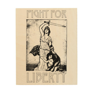 FIght for Liberty! Lady Liberty with Sword - Black Wood Wall Decor