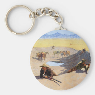 Fight for the Water Hole by Frederic Remington Basic Round Button Key Ring