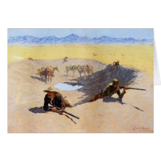 Fight for the Water Hole by Frederic Remington Greeting Card