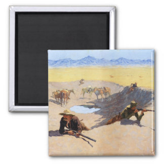 Fight for the Water Hole by Frederic Remington Square Magnet