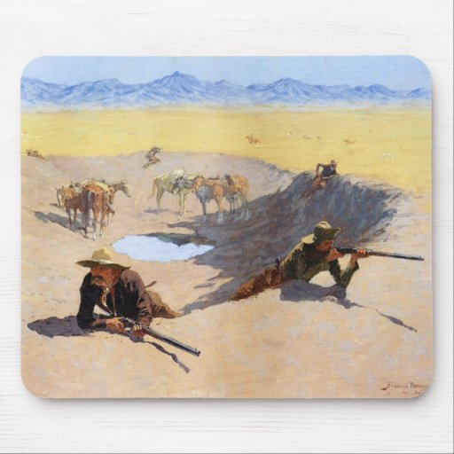 Fight for the Water Hole by Frederic Remington Mousepads